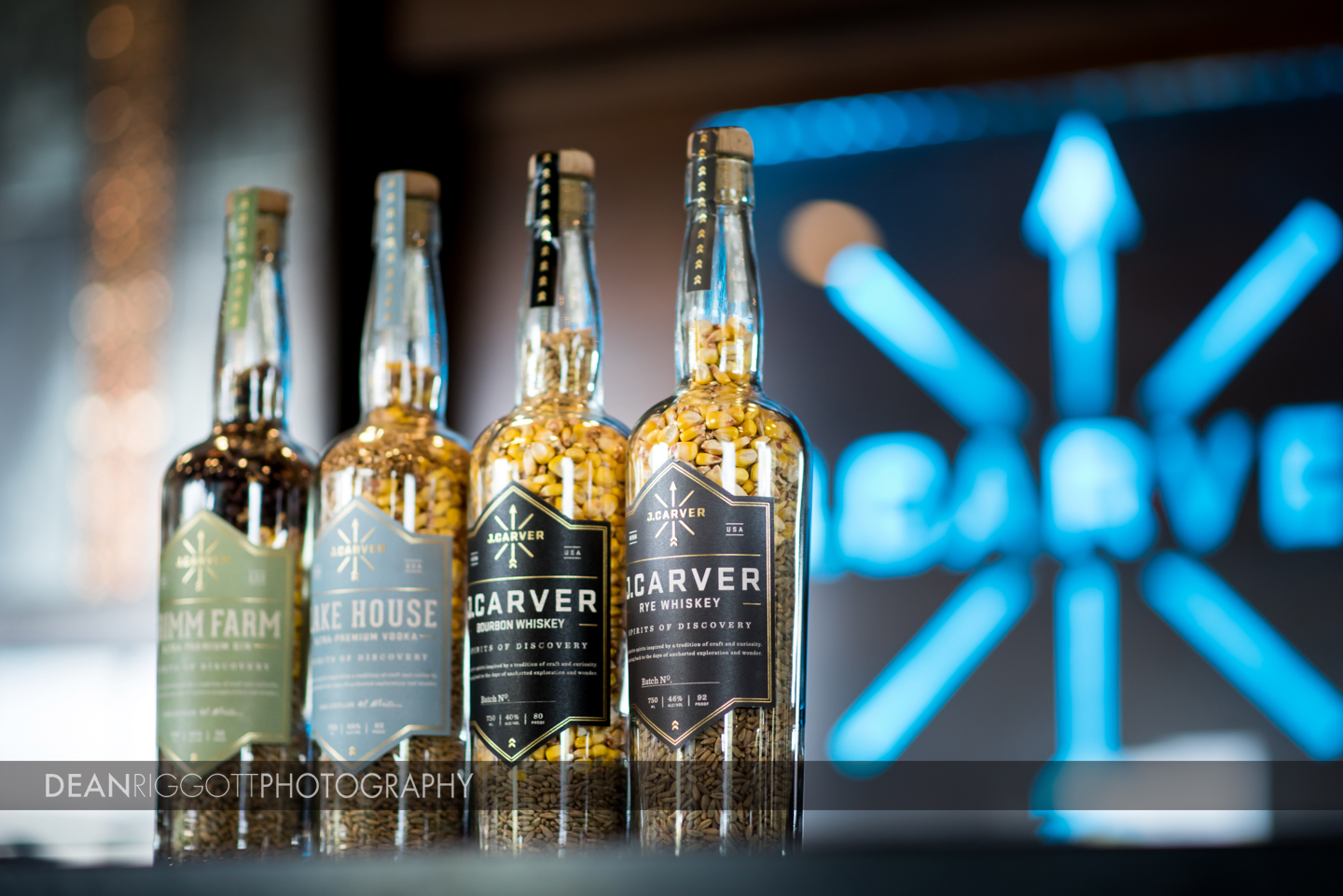 Hospitality photography at J. Carver Distillery in Waconia, Minnesota.